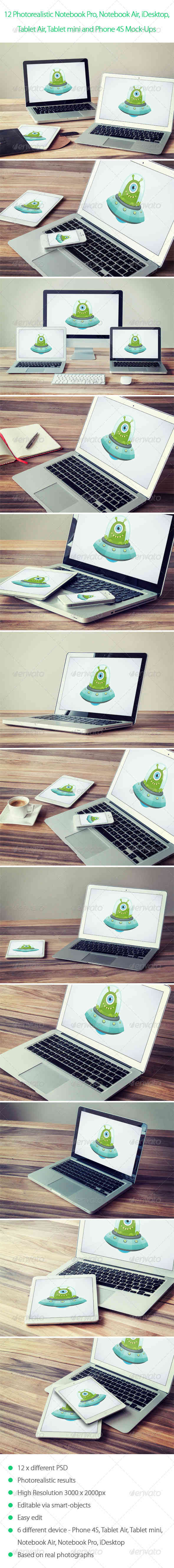 12 Photorealistic Notebook, Mobile Device Mock-Ups