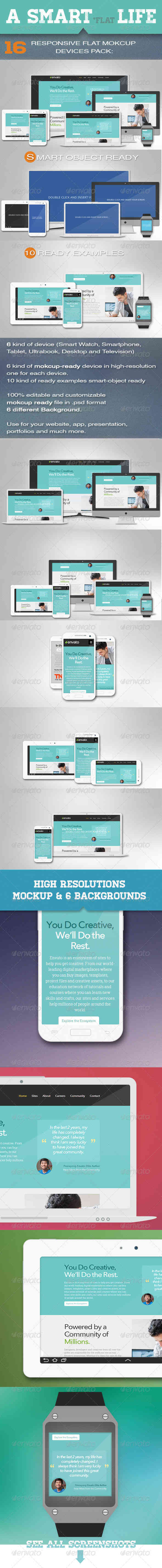 Responsive Flat Mockup Devices Pack