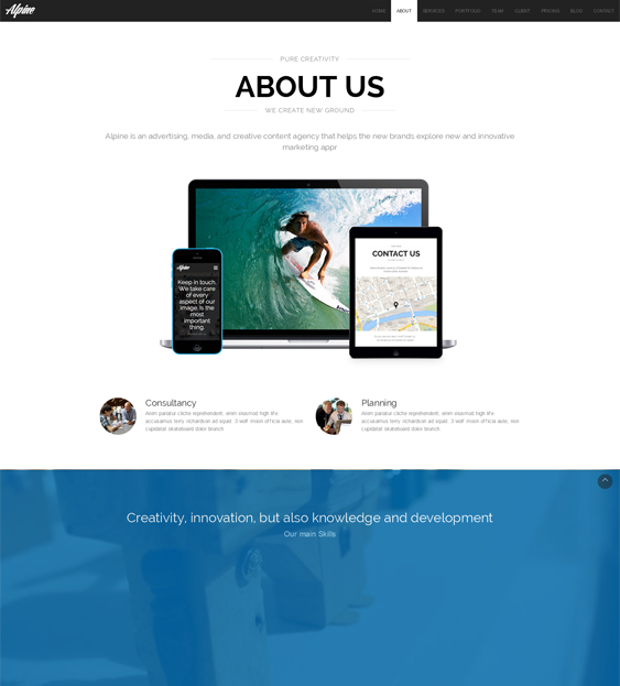 alpine one page drupal theme