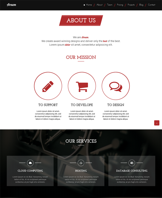 arnem one page drupal theme
