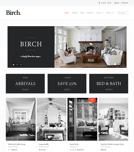 birch minimal shopify theme