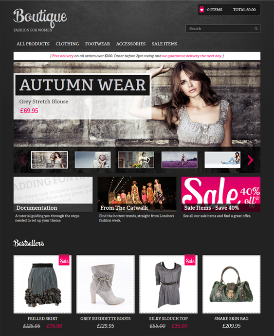 clearflex boutique dark shopify theme