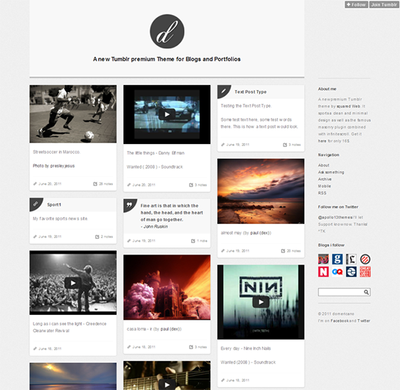 domericano masonry tumblr theme