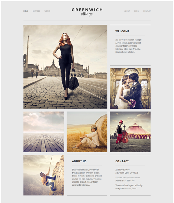 greenwich village one page drupal theme