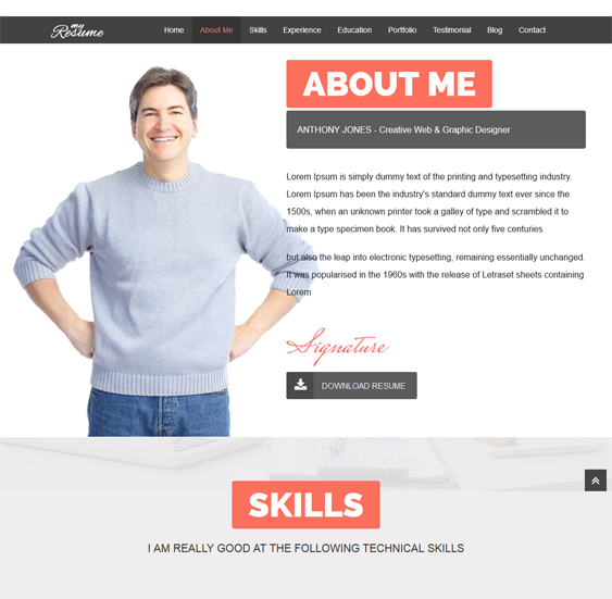 resumex one page drupal theme