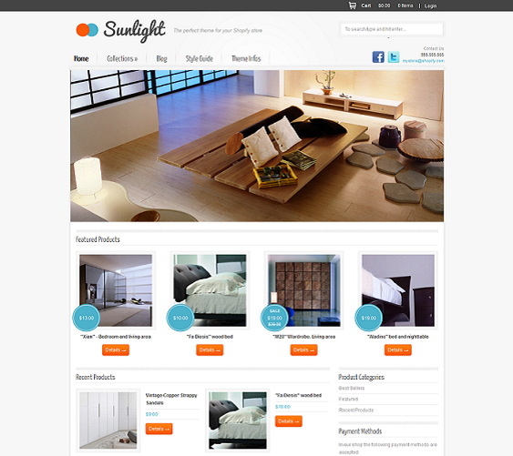 sunlight minimal shopify theme