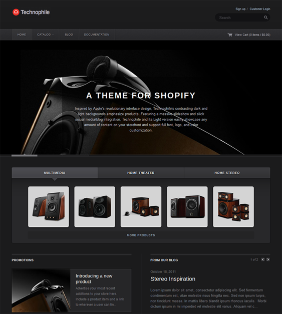 technophile dark shopify theme