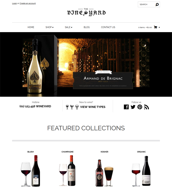 wineyard minimal shopify theme