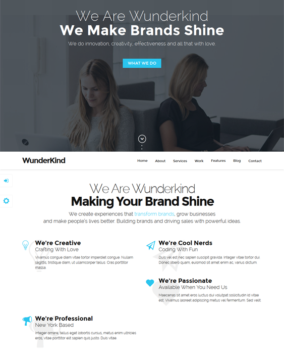 wunderkind parallax drupal theme