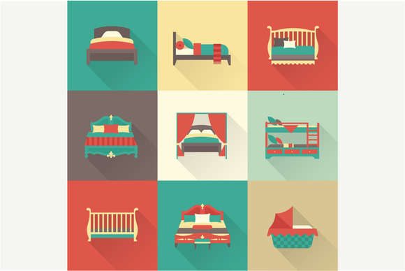 Bed flat icons