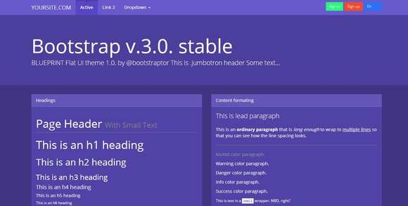 Bootstrap 3.0. Blueprint flat theme