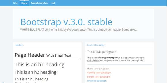 Bootstrap 3.0. RC2 theme white-blue