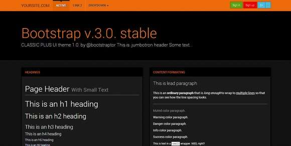 Bootstrap 3.0. Robotron orange theme