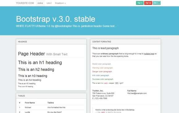 Bootstrap 3.0. WhiteFlatty alt theme