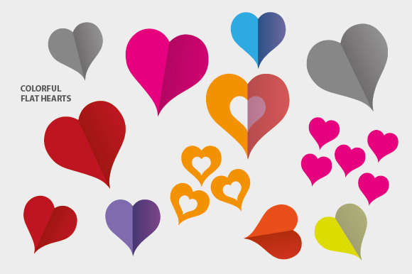 Colorful Flat Hearts (Icons)