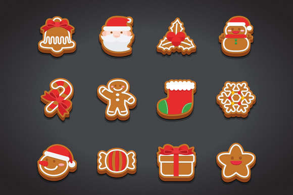 Flat Christmas Cookie Icons Set
