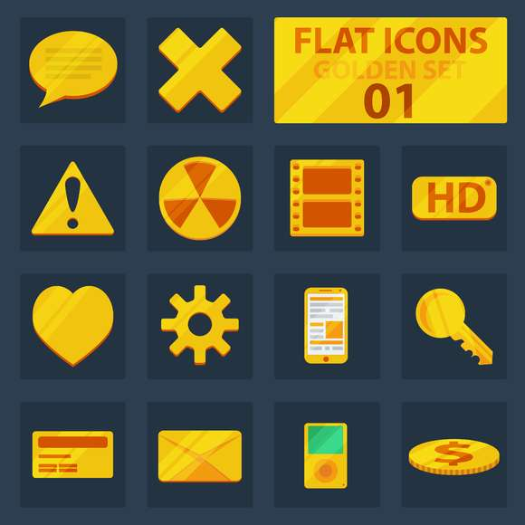 Flat golden icons