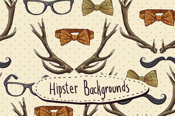 Hipster background with deer antlers