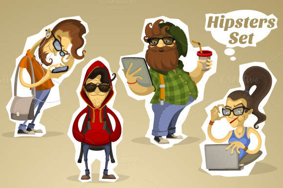 Hipsters Nerds Set