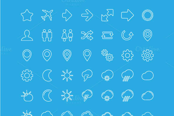 Modern vector Icons set in flat