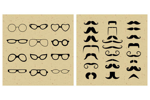 Set of Glasses and Moustache