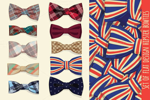 Set of flat design hipster bowties