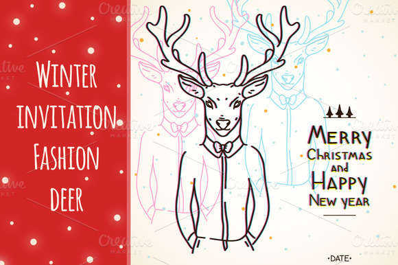 Winter invitation, Fashion deer