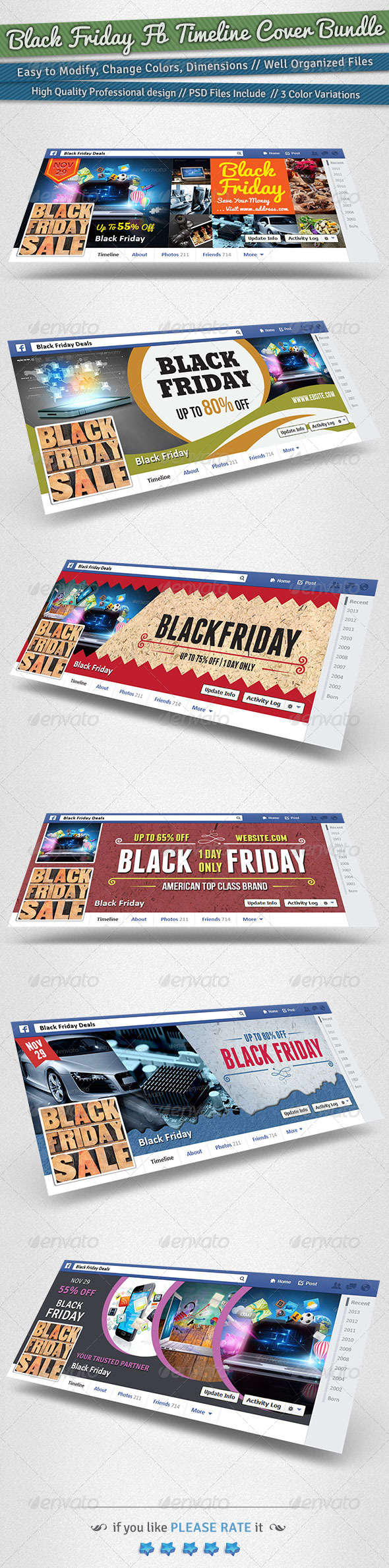 Black Friday / Promotion FB Timeline Cover Bundle