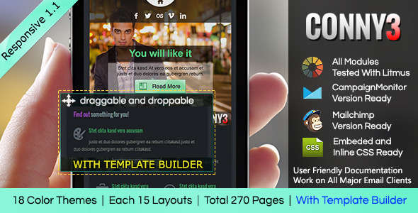 CONNY3 - Responsive Email With Template Builder