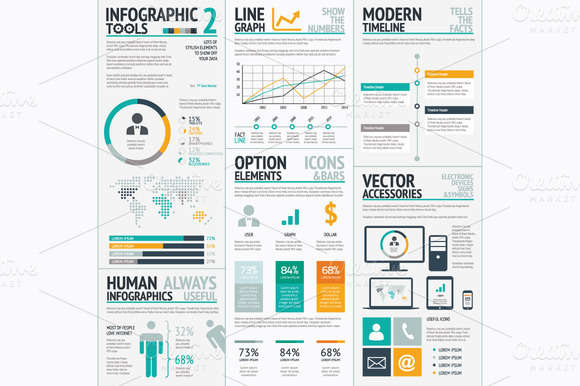 Infographic tools 2 big vector set