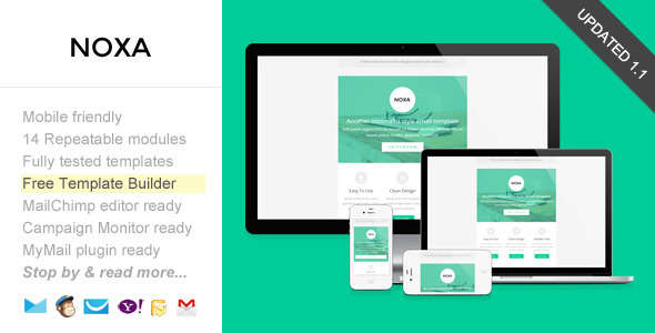 Noxa, Responsive Email with Template Builder
