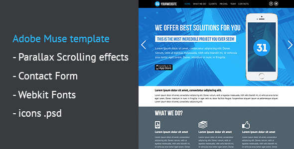 One Page Parallax Muse Template