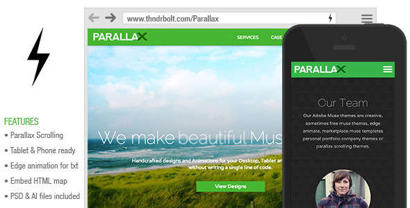 Parallax : Scrolling Muse Theme