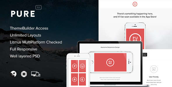 Pure - Responsive Email + Themebuilder Access