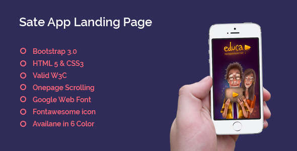 Sate App Landing Page - One Page