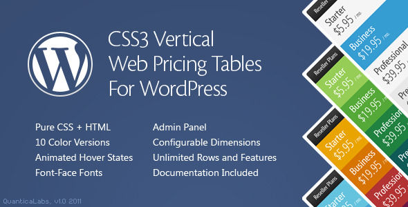 WordPress - CSS3 Vertical Web Pricing Tables For WordPress