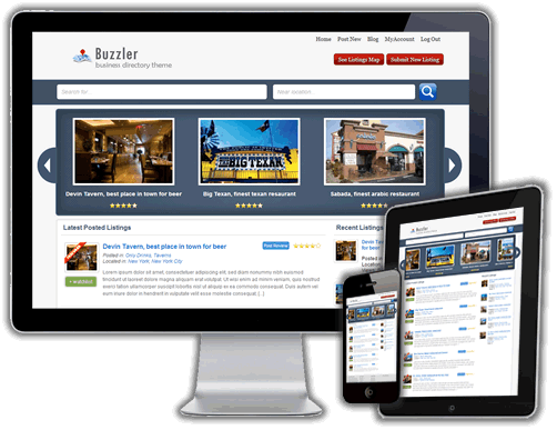 Buzzler Business Directory Theme by Sitemile