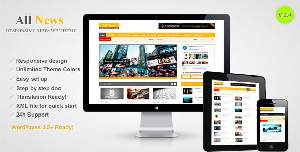 All News by RoyalwpThemes is a news magazine WordPress theme with video support which features support for RTL languages, one page layouts, fully responsive layouts, search engine optimization and magazine style layouts.