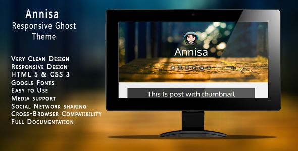 Annisa by Hasnydesign is a Ghost theme which features fully responsive layouts, Google Fonts support, clean design and  blogging related layouts and optimizations.