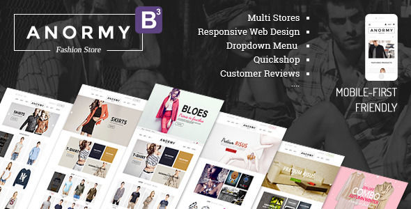 Anormy by Tvlgiao is a Shopify theme which features parallax elements, support for RTL languages, Mega Menu, fully responsive layouts, search engine optimization, Google Fonts support, WooCommerce integration, clean design, Bootstrap framework utilization, flat design aesthetics and  minimal design.