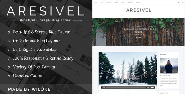 Aresivel by Wilokeghost is a Ghost theme which features Retina display support, support for RTL languages, fully responsive layouts, Google Fonts support, clean design, is great for your personal site, blogging related layouts and optimizations, a grid layout and  minimal design.