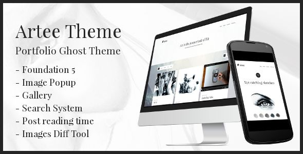 Artee by PxThemes is a Ghost theme which features fully responsive layouts, Google Fonts support, clean design, support for photo galleries, can be used for your portfolio, masonry post layouts and  a grid layout.