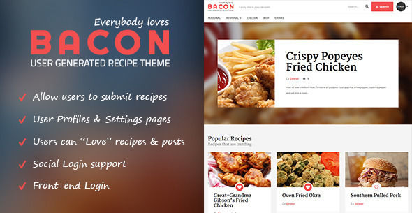 Bacon by Bluthemes_ is a recipe WordPress theme which features support for RTL languages, fully responsive layouts, clean design, Bootstrap framework utilization and a grid layout.