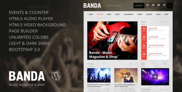 Banda by Sinote is a WordPress theme for bands which features fully responsive layouts, Revolution Slider, Bootstrap framework utilization and magazine style layouts.