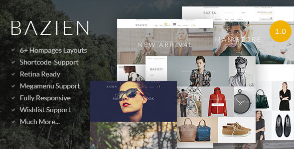 Bazien by Greentheme is a Shopify theme which features Retina display support and  fully responsive layouts.