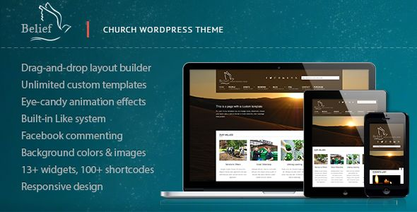Belief by Cosmothemes is a news magazine WordPress theme with video support which features one page layouts, fully responsive layouts, search engine optimization, Google Fonts support, can be used for your portfolio, masonry post layouts and a grid layout.