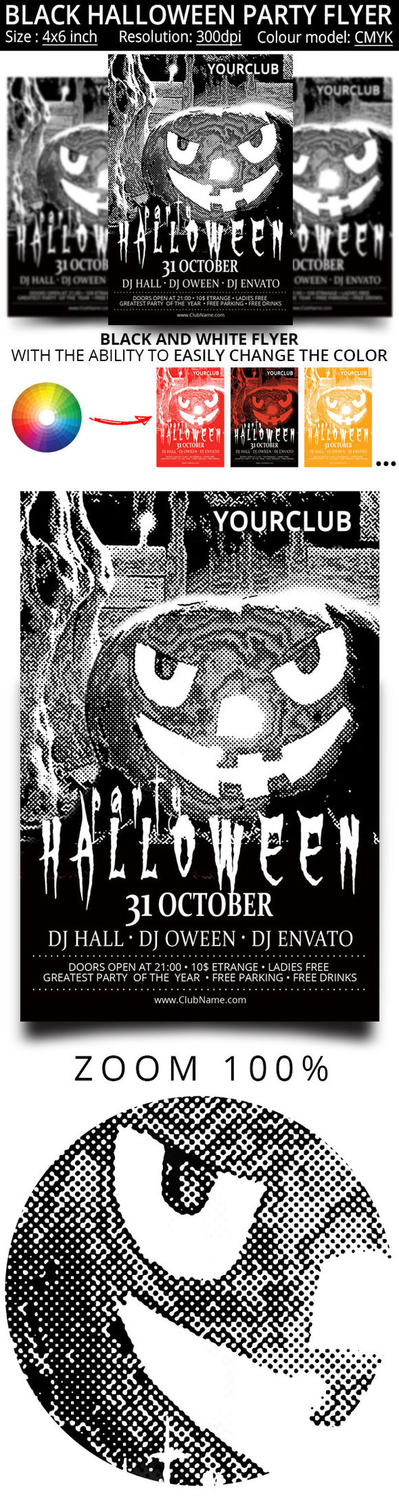 Black And White Flyer For The Hallow by Oloreon is available from CreativeMarket for $5.
