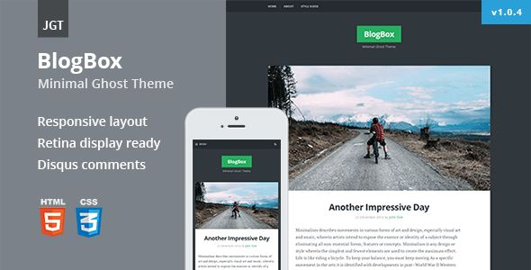 BlogBox by Justgoodthemes is a Ghost theme which features Retina display support, support for RTL languages, fully responsive layouts, is great for your personal site, blogging related layouts and optimizations, bold design elements, flat design aesthetics and  minimal design.