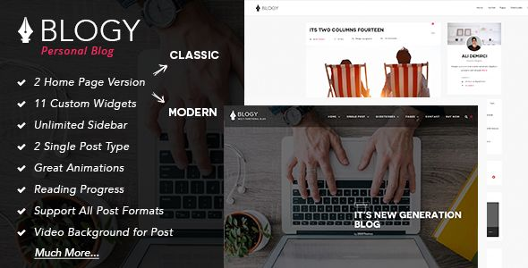 Blogy by 2035Themes is a WordPress theme which features Retina display support, parallax elements, support for RTL languages, fully responsive layouts, search engine optimization, Bootstrap framework utilization, is great for your personal site, bold design elements and a grid layout.