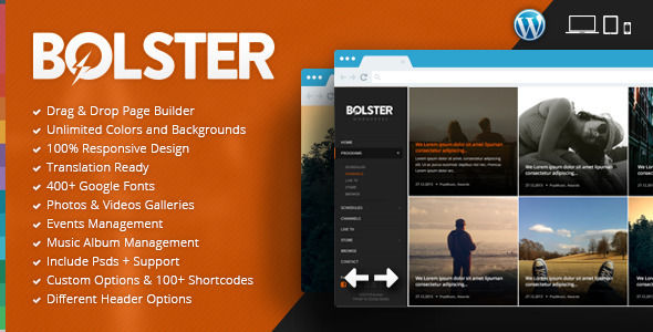 Bolster Music Band WordPress Theme by Chimpstudio is a WordPress theme for bands which features support for RTL languages, fully responsive layouts, Revolution Slider and Bootstrap framework utilization.